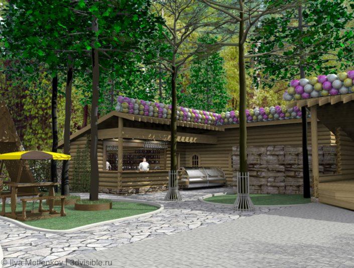 ЗD визуализация летнего кафе