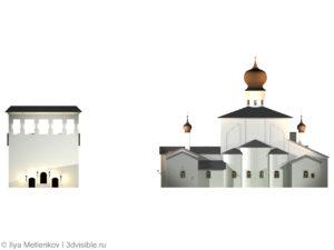 3D визуализация Церкви Успения с Парома со звонницей города Пскова. Задний фасад