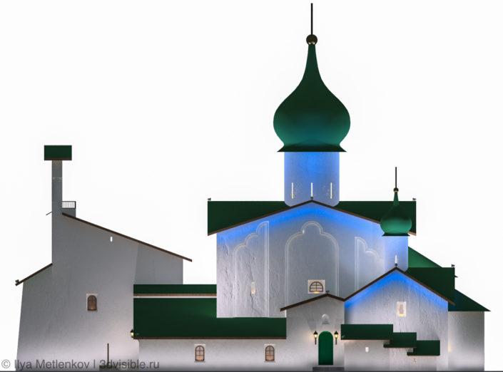 3D визуализация Церкови Богоявления Господня с Запсковья города Пскова3D визуализация Церкови Богоявления Господня с Запсковья города Пскова