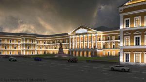 3D визуализация здания областной администрации г.Пскова