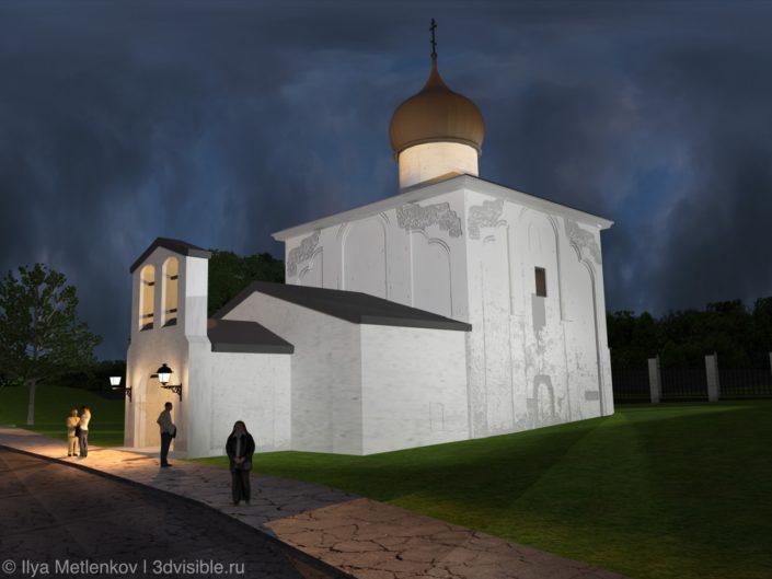 3D визуализация Церкви Георгия со Взвоза города Пскова