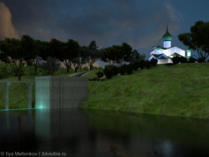 3D визуализация Церкови Богоявления Господня с Запсковья города Пскова