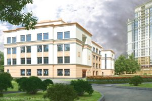 3D визуализация здания средней образовательной школа