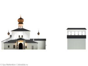 3D визуализация Церкви Успения с Парома со звонницей города Пскова. Главный фасад