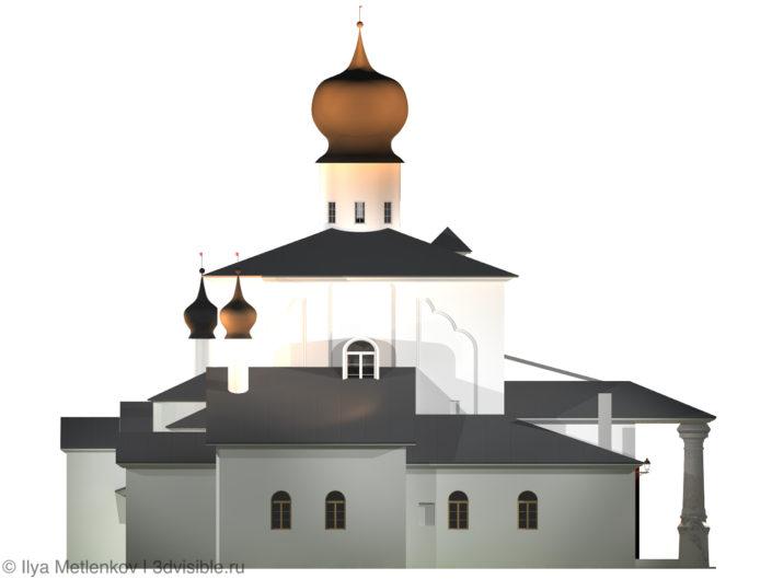 3D визуализация Церкви Успения с Парома со звонницей города Пскова. Левый фасад