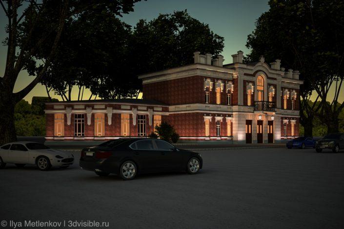 3D визуализация театра имени Пушкина города Пскова