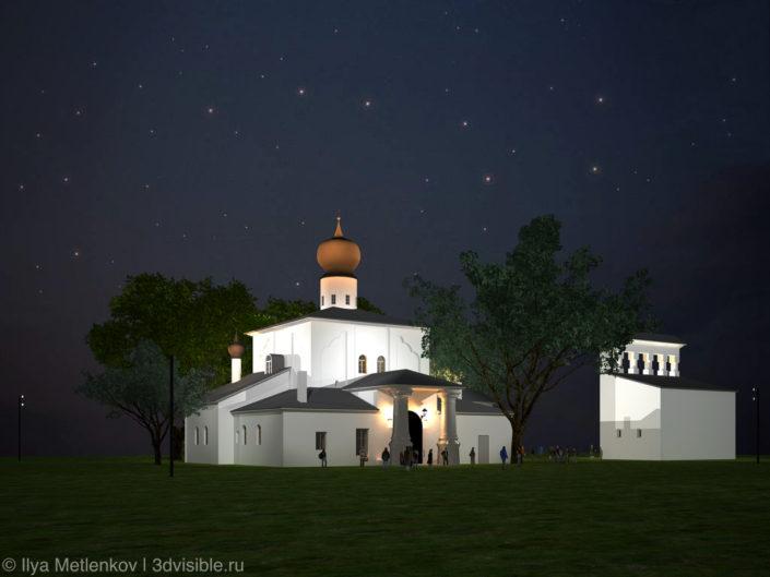 3D визуализация Церкви Успения с Парома со звонницей города Пскова